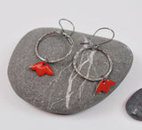 Tulip Hoops Red Blossom Enameled Earring on Oxidized Silver