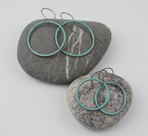 Seafoam Enameled Hoops Large and Small Sizes