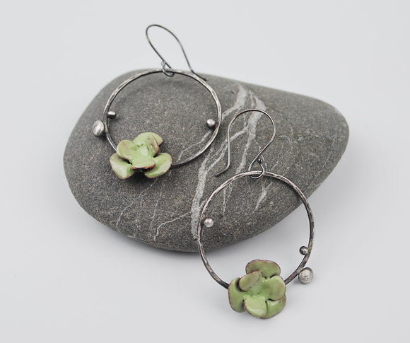Succulent Hoops-Sedum in Pale Lichen Green Enameled Earring on Oxidized Silver
