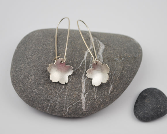 Silver Cherry Blossom Dangle Earring--Brushed Recycled Sterling Silver on Silver Kidney Earwires