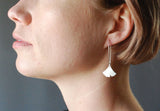 Large Ginkgo Dangle Earring Recycled Sterling Silver Leaf on Silver Hook