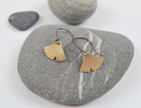 Small Ginkgo Dangle Earring Gold Filled Leaf on Oxidized Silver Hook