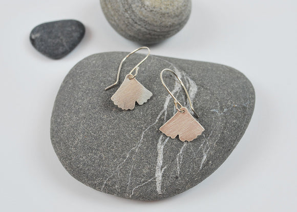 Small Ginkgo Dangle Earring Recycled Sterling Silver Leaf on Silver Hook