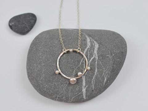 Sprout Hoop Necklace in Recycled Sterling Silver