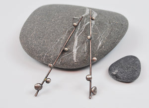Sprout Stick Stud Earrings in Oxidized Recycled Sterling Silver Long