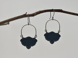 Steel Grey Shield Earrings Enameled Copper on Oxidized Sterling Silver