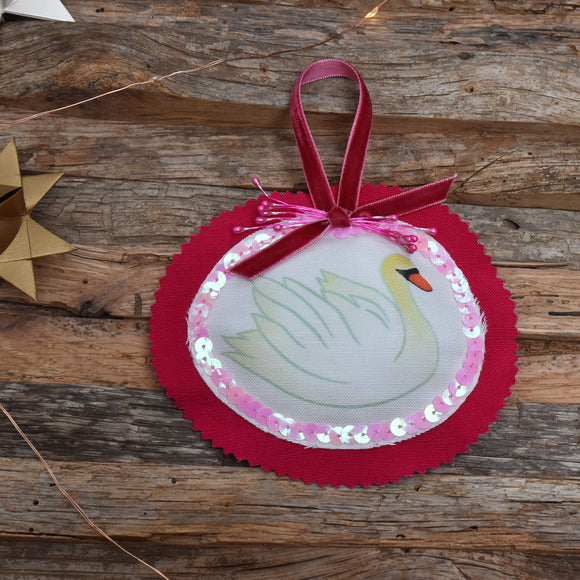 Animal Club Ornament:  Swan in Pink