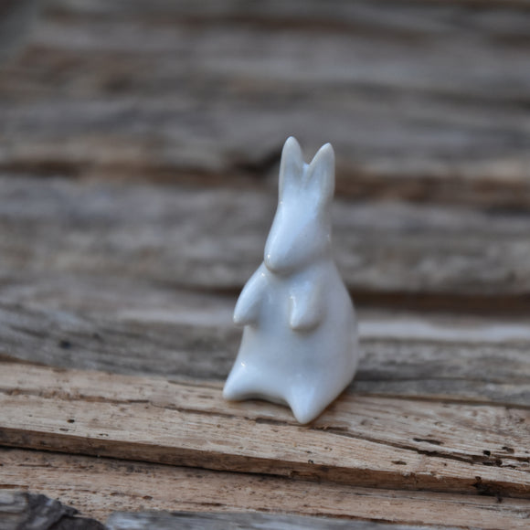 Tall Bunny in Matte White Glaze on Porcelain