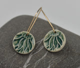 Teal Flower Disk-- Porcelain on gold filled kidney hooks