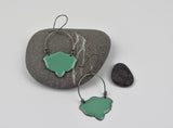Teal Shield Earrings Enameled Copper on Oxidized Sterling Silver