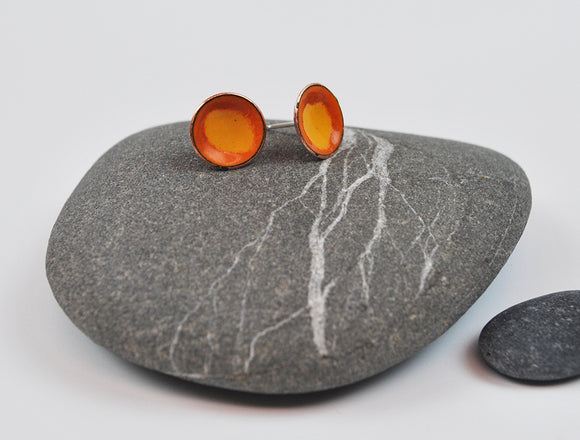 Flame Cups Enameled Earrings with Silver Posts