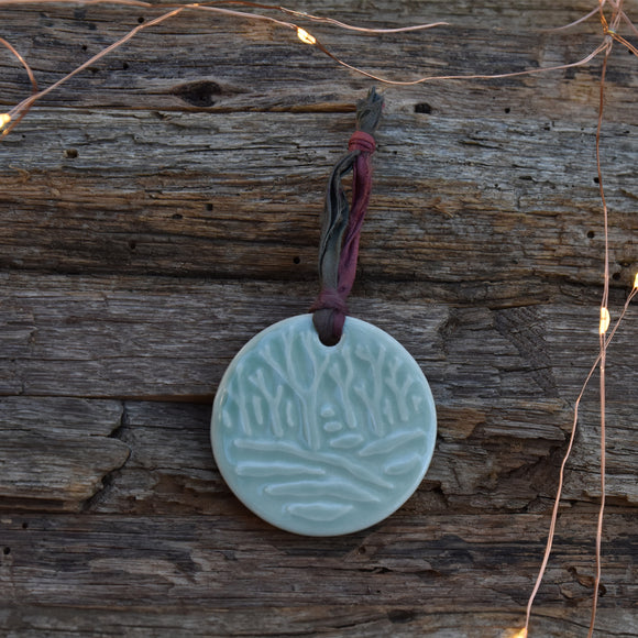Winter Trees in Celadon Porcelain with Sari Silk Small Ornament