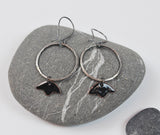Tulip Hoops Teal Blossom Enameled Earring on Oxidized Silver