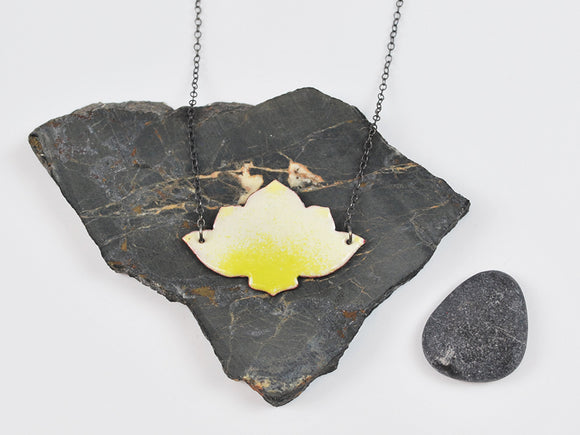 White Ombre Lotus Enameled Necklace on Oxidized Silver Chain