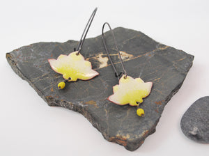 White Ombre Lotus Enameled Earring on Oxidized Silver Hook