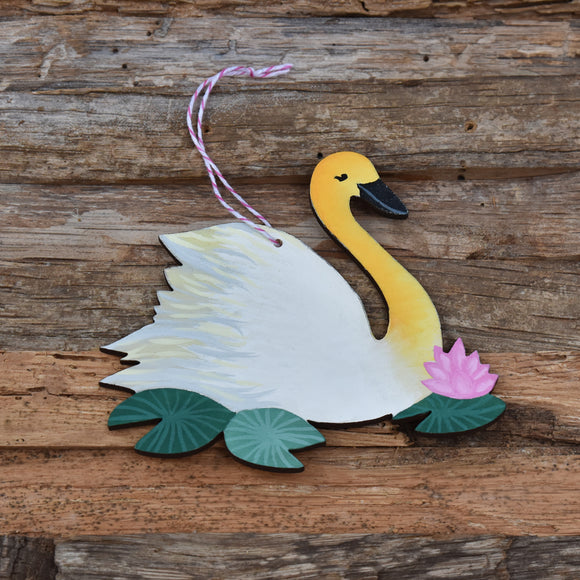 Swan Wooden Ornament in White Laser Cut Wood and Handpainted