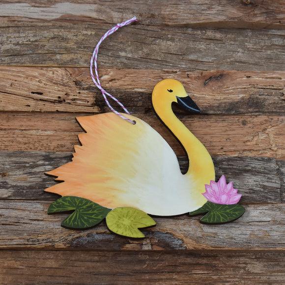 Swan Wooden Ornament in Yellow Laser Cut Wood and Handpainted