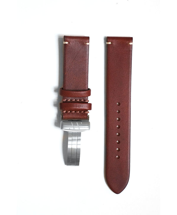 Brown leather strap with contrast stitching