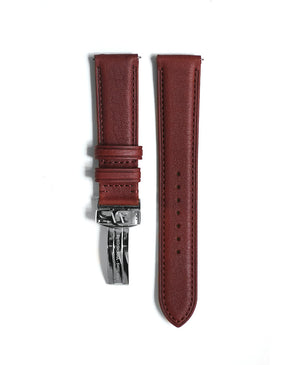 Brown leather strap with edge seam