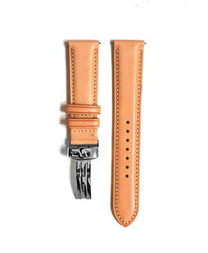 Tan leather strap with edge seam