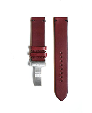 Burgundy leather strap with contrast stitching