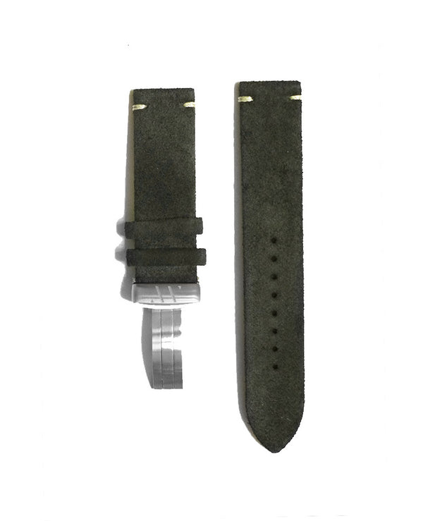 Dark olive suede strap with contrast stitching