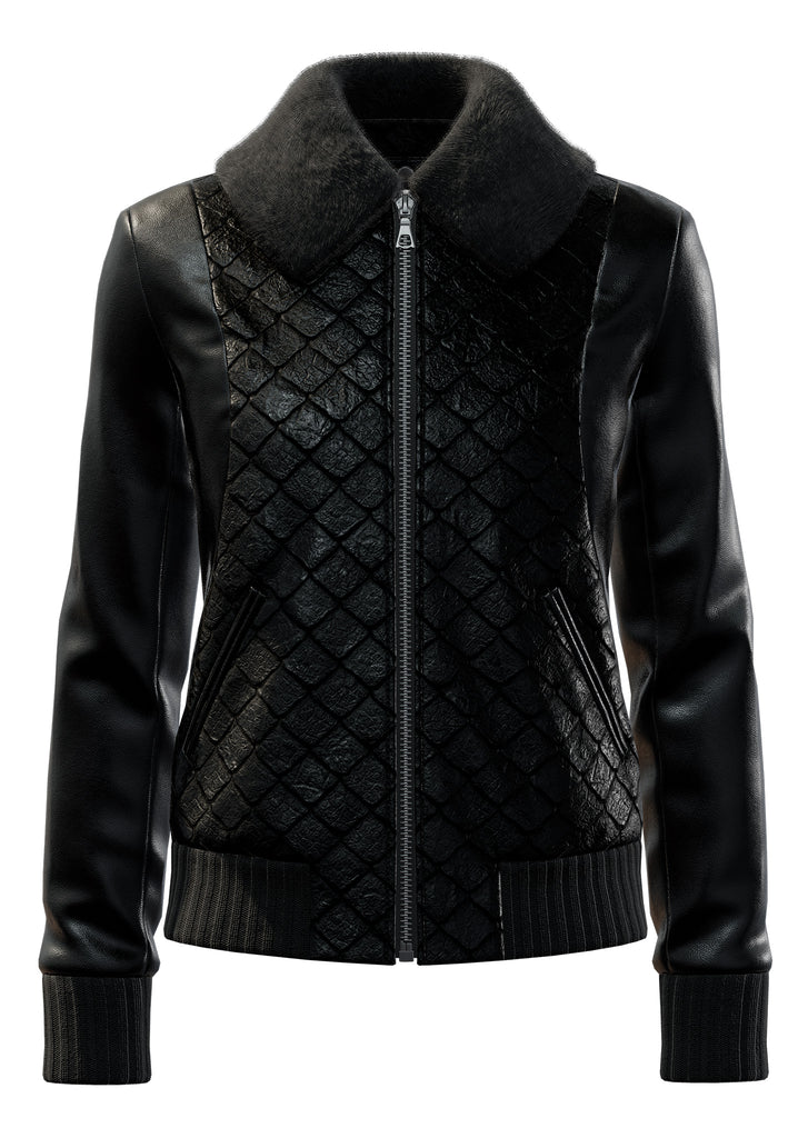 "Exotic Fishscale and Classic Lambskin in All Black  <a class=""price-for-collection"">$2330</a>"