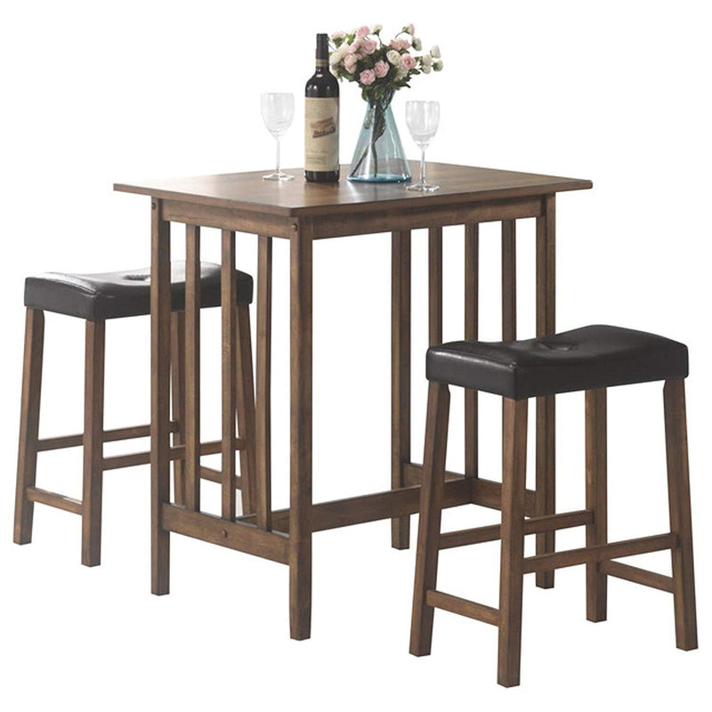 Svitlife Mid Century Design 3-piece Counter Height Pub Set Pub Set Height Bar Counter Piece Table Natural Dining Zew Handcrafted Stools