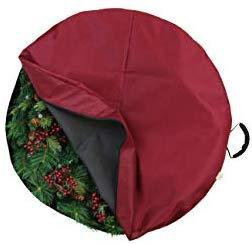 612 Vermont Christmas Wreath Storage Bag Container, Woven Polyester Fabric, Padded Handle with Carabiner Clip for Suspension Hanging (24 Inch)