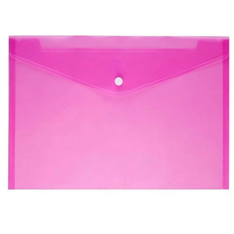 JUSLIN Poly Envelope Folder with Snap Button Closure, 24PCS Waterproof Transparent Project Envelope Folder, A4 Letter Size