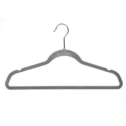 Raymond Waites Ultra-Thin Non-Slip Velvet Clothing Hangers, Flocked & Durable, Closet Space Saving, for Garments, Suits, Dresses, Pants, Shirts, Coats, 25 Pack (Grey)