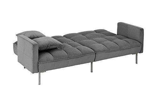 DIVANO ROMA FURNITURE Modern Plush Tufted Velvet Splitback Living Room Futon (Dark Grey)