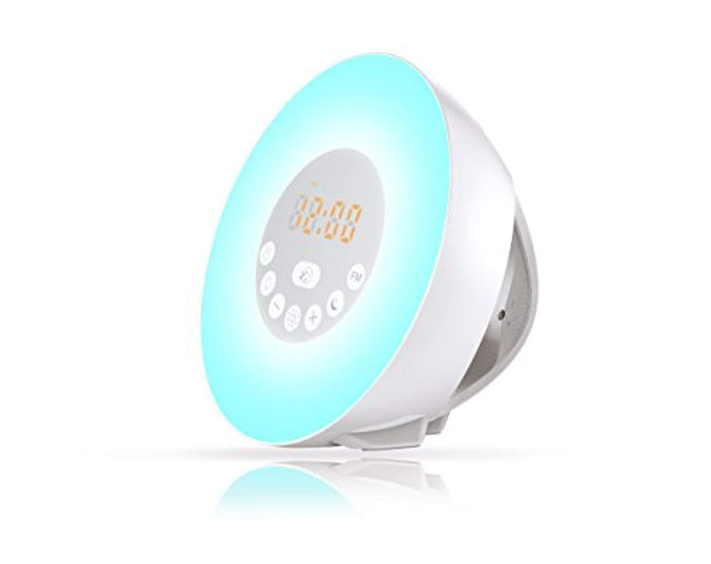 Wake up Light with Sunrise Digital alarm clock- with Multi-Colorful Night Light, 6 Nature Sounds, FM Radio,Digital Clock,Sunrise and Sunset Simulation Perfect Suit for Adults and kids-Gift Set