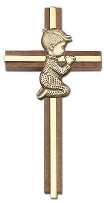 Praying Boy Walnut Wood Gold Inlay 6 Inch Wall Cross First Holy Communion Gifts by Christian Living