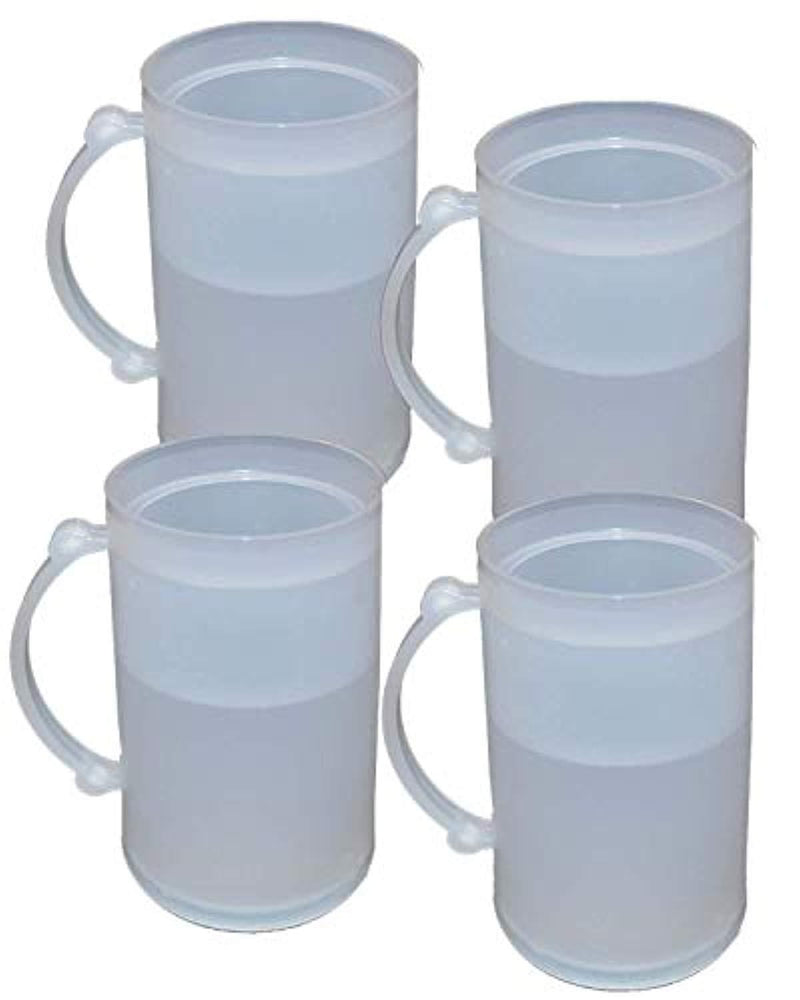 Set of 4 Double Wall Frosty Freezer Cold Mugs - 16-oz. White Color