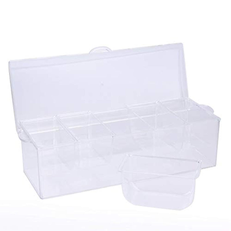 Tebery Large Clear Chilled Condiment Server with Lid and 5 Removable Compartments