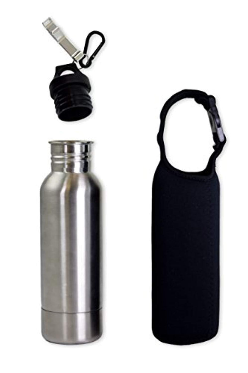 Stainless Steel Bottle - Best for Keeping Beverages Cold - Fits 12oz Bottles - Comes With Bottle Opener And Neoprene Carrying Case - Stainless Steel Bottle Insulator - Perfect Gift