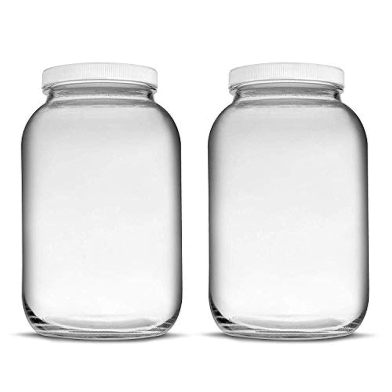 "Teikis 2 Pack Wide-Mouth 1 Gallon Glass Jar with 4"" Opening Lid Air Tight and Leak Proof - USDA Approved for Fermenting Kombucha, Kefir, Storing and Canning - Dishwasher Safe"