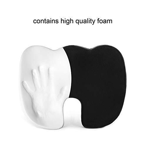 Seat Cushion - Car Seat Butt Pillow, Hip Support for Office Chair and Wheelchair - Coccyx Orthopedic Memory Foam Pad for Tailbone, Sciatica, Back Pain Relief - Breathable, Black (2-Pack)