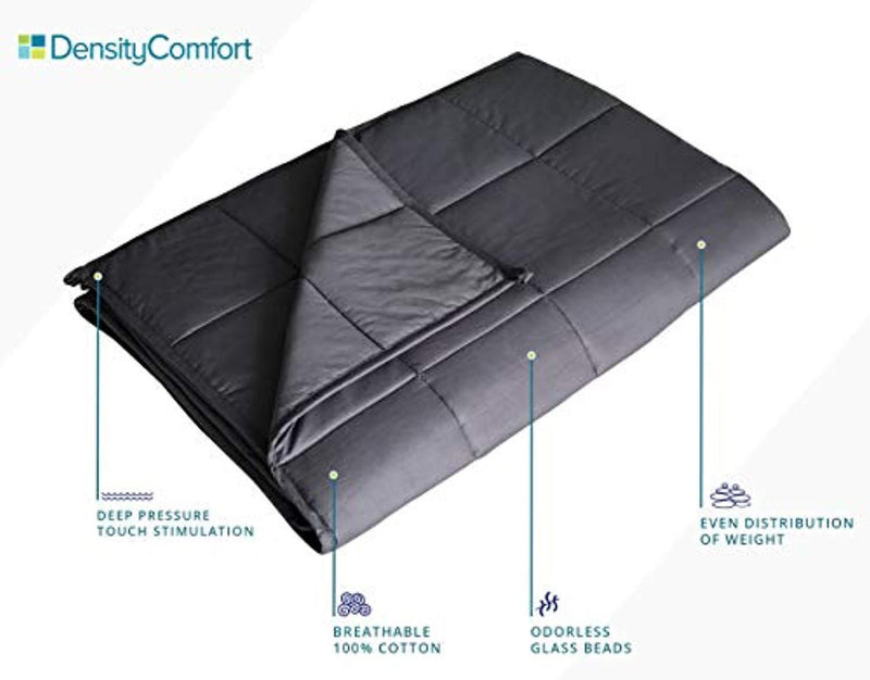 DensityComfort Premium Adult Weighted Blanket | 15 lbs Queen Size 60x80 | 100% Certified Oeko-TEX Cotton | Grey Heavy Throw Blanket with Glass Beads