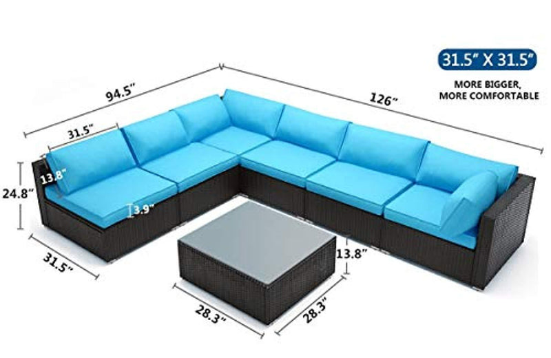 """Tribesigns 7 Piece Outdoor Patio PE Rattan Wicker Sofa, Extra Large Size 31.5'' x189'' Sectional Conversation Couch Outdoor Furniture Set with Coffee Table for Garden Poolside (Turquoise) """