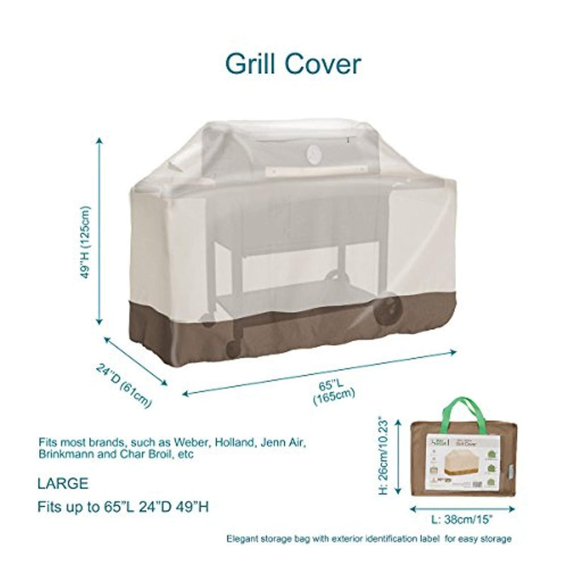 "PHI VILLA Waterproof Grill Cover, BBQ Grill Cover with Weather & UV Resistant Fabric, Large, 65"" Length"