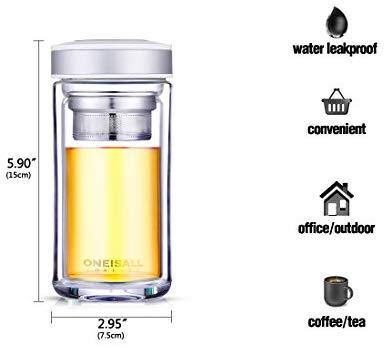 ONEISALL Double Wall Glass Travel Tea Mug with Stainless Steel Filter, Ultra Clear Spill-proof Strong Glass Tea Tumbler, 320ML (Champagne)