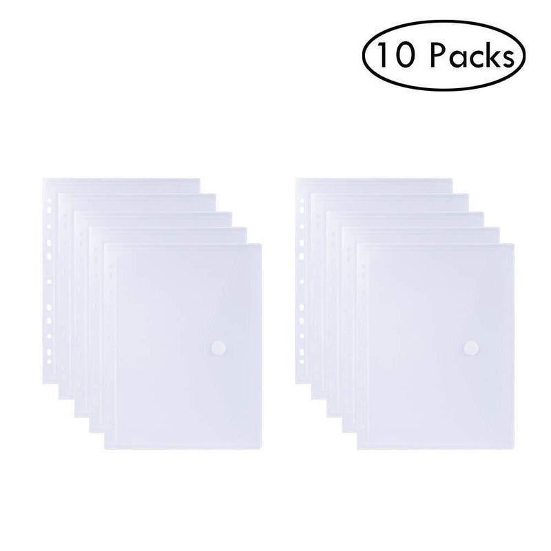 Binder Pockets, 11 Ring Clear Binder Pockets Fit in 2 / 3 / 4 Ring, Side Loading, Plastic Envelopes with Closure, Letter Size 10 Packs