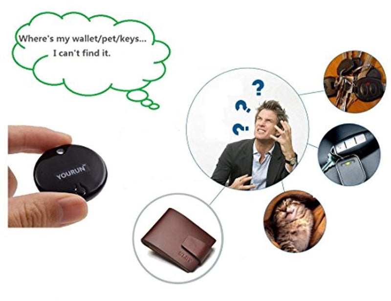YOURUN Mini Smart Bluetooth Anti-Lost Alarm Device For Key/Cell/Kids/Pets/Car,Compatible With IOS And Android System,Black