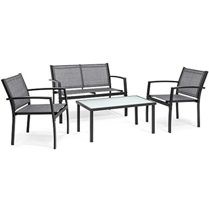Best Choice Products 4-Piece Patio Metal Conversation Furniture Set w/Loveseat, 2 Chairs, and Glass Coffee Table- Gray