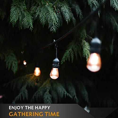TWINSLUXES LED Patio Lights String 48FT With 2W x 24 Vintage Bulbs - Edison String Lights Outdoor, E26 Sockets Hanging Outdoor Lights, Weatherproof Commercial String of Lights for Bistro, Café, Garden