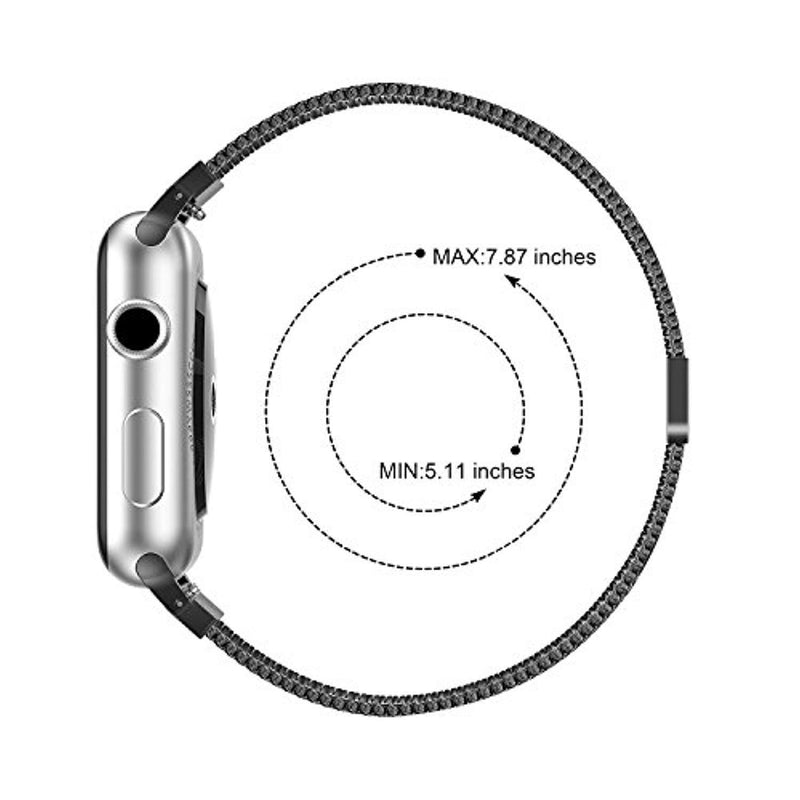 Bandx Milanese Loop Replacement Band Compatible Apple Watch 38mm 42mm,Stainless Steel Mesh Band with Magnetic Closure for iWatch Series 3 Series 2 Series 1