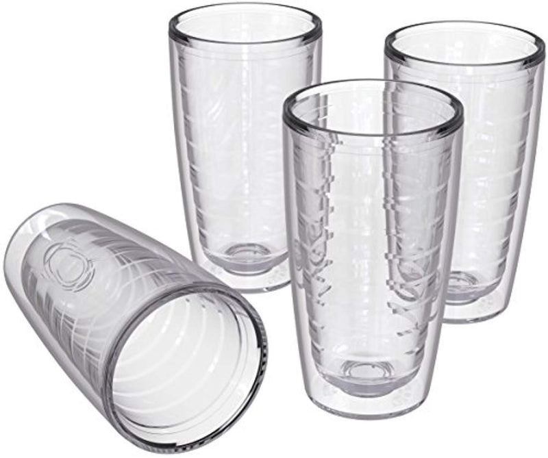 4-pack Insulated 16 Ounce Tumblers - Clear - Sweat Resistant - BPA-Free - Made in USA