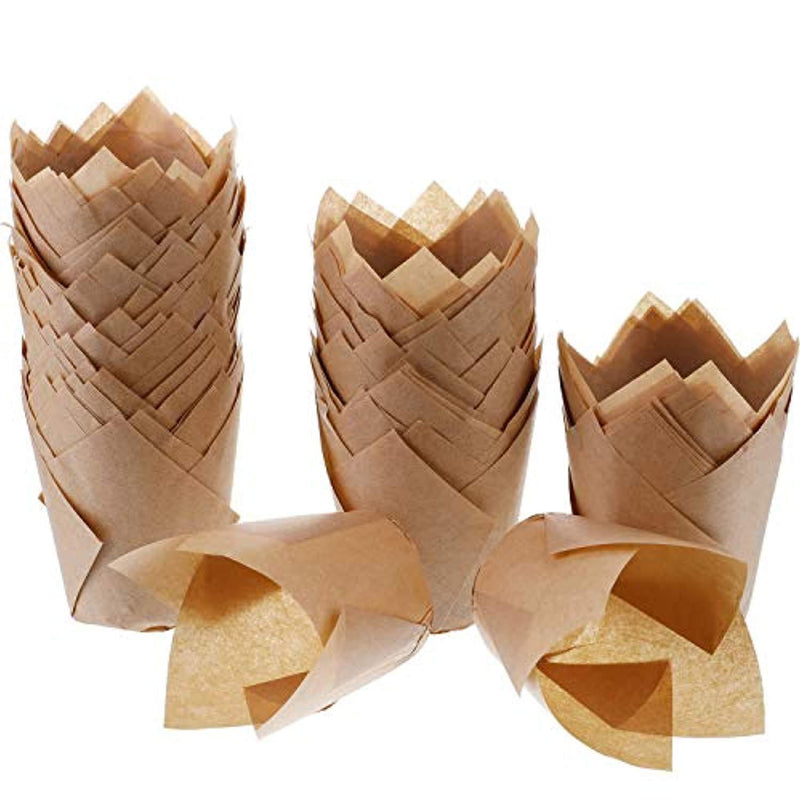 Hestya 150 Pieces Tulip Muffin Baking Cups Cupcake Muffin Liners Baking Cup Holder, Natural Color